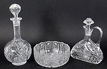 TWO DECANTERS AND A BOWL