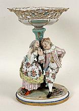 A GERMAN PORCELAIN CENTERPIECE WITH FIGURES