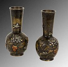 A PAIR OF JAPANESE MINIATURE VASES