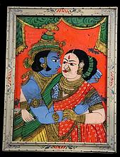 AN INDIAN REVERSE GLASS PAINTING