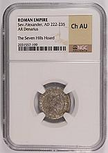 ANCIENT ROMAN SILVER DENARIUS, RULE OF SEV ALEXANDER, AD 222-235  NGC CHOICE-AU!