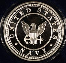 UNITED STATES NAVY  ONE OUNCE .999 SILVER ART ROUND