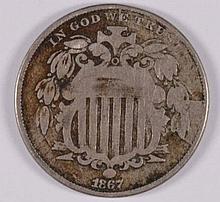 1867 SHIELD NICKEL, FINE, NO RAYS