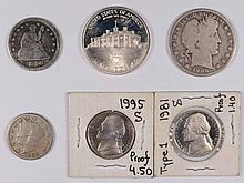 1856 SEATED QUARTER-GOOD, 1888 V NICKEL-VG 1981-S & 1995-S PROOF NICKELS, 1906-O