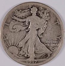 1917-S WALKING LIBERTY HALF DOLLAR, VG