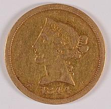 1844-O $5 GOLD LIBERTY VF