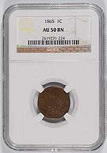 1865 INDIAN HEAD CENT NGC AU-50 BN