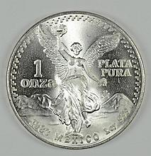 1983 MEXICAN LIBERTAD ONE OUNCE .999 SILVER COIN, GEM BU
