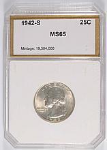 1942-S WASHINGTON QUARTER, PCI MS-65 VERY NICE