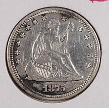 1875 SEATED QUARTER AU
