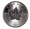 2014 CANADIAN MAPLE LEAF, $5.00 ONE OUNCE .9999 SILVER COIN