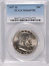 1957-D FRANKLIN HALF DOLLAR, PCGS MS-64 FBL
