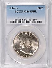 1954-D FRANKLIN HALF DOLLAR, PCGS MS-64 FBL
