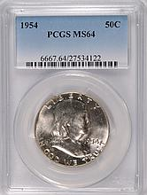 1954 FRANKLIN HALF DOLLAR, PCGS MS-64