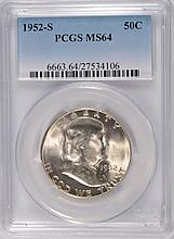 1952-S  FRANKLIN HALF DOLLAR, PCGS MS-64