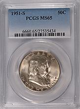 1951-S FRANKLIN HALF DOLLAR, PCGS MS-65 GEM