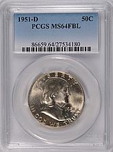 1951-D FRANKLIN HALF DOLLAR, PCGS MS-64 FBL