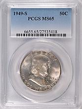 1949-S FRANKLIN HALF DOLLAR, PCGS MS-65 GEM