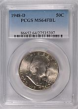 1948-D FRANKLIN HALF DOLLAR, PCGS MS-64 FBL