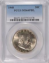1948 FRANKLIN HALF DOLLAR, PCGS MS-64 FBL