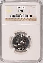 1962 WASHINGTON QUARTER, NGC PROOF-67! SUPER!