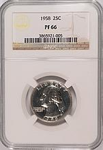 1958 WASHINGTON QUARTER, NGC PROOF-66