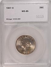 1947-S WASHINGTON QUARTER, SEGS MS-65 GEM!
