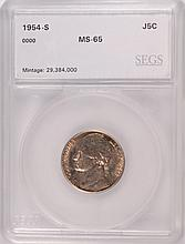 1954-S JEFFERSON NICKEL, SEGS MS-65 GEM!