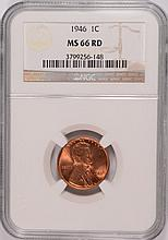 1946 LINCOLN CENT, NGC MS-66 RED!  NICE!