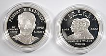 PROOF U.S. COMMEM SILVER DOLLARS BOXES/COA: FIRST FLIGHT & ROBERT F KENNEDY