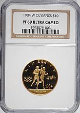 1984-W $10 GOLD COMMEN (OLYMPICS) NGC PF-69 UC
