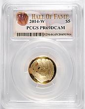 2014-W $5 GOLD BASEBALL COMMEM PCGS MS-70!!!  (HALL OF FAME)