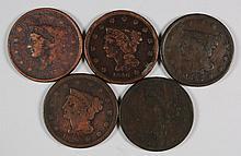 (5) LARGE CENTS (1837, 1839, 1840, 1841, 1843)