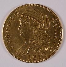 1810 $5 GOLD CAPPED BUST LEFT AU/BU ALTERED SURFACES. VERY RARE