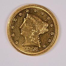 1874 $2.5 GOLD LIBERTY BU