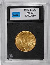 1907 $10.00 INDIAN GOLD CHOICE BU SCARCE