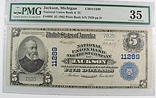 1902 $5 NATIONAL UNION BANK & TRUST CO. OF JACKSON PMG VF-35