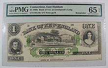 1860s BANK OF NEW ENGLAND PMG CU-65 EPQ