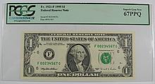 1995 $1 FRN PCGS 67 PPQ ASCENDING LADDER SERIAL NUMBER