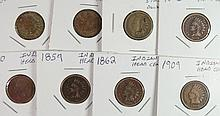 8 INDIAN CENTS 1859, 60, 62, 2 63 ONE COUNTERSTAMPED, 64, 65, 09 AVG. CIRC SOME