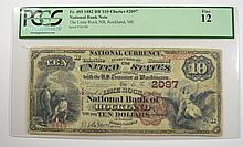 1882 $10 NATIONAL (ROCKLAND, ME) #2097 PCGS FINE-12