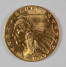 1929 $2.50 GOLD INDIAN, BU