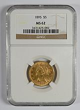 1895 $5 GOLD LIBERTY NGC MS-62