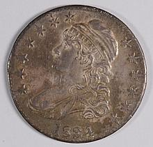 1834 BUST HALF DOLLAR AU-58 CLOSE TO BU NICE OLD ALBUM TONING STRONG STRIKE