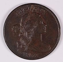 1802 LARGE CENT SHELDON 230 AU/BU SCRATCH OBVERSE BUT STUNNING DETAILS