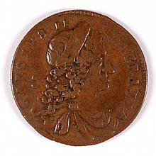1683 IRELAND 1.2 PENNY CHARLES II ATTRACTIVE CHOCOLATE BROWN VF