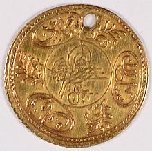 TURKEY KM #638 HAYRIYE ALTIN GOLD 1223/22 HOLED XF
