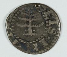 1652 PINE TREE 6 PENCE MASS SILVER VF/XF PIERCED