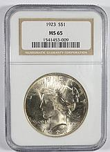 1923 PEACE DOLLAR NGC MS-65 BLAST WHITE