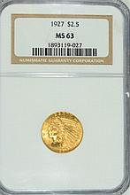 1927 $2.5 GOLD INDIAN NGC MS-63 PQ